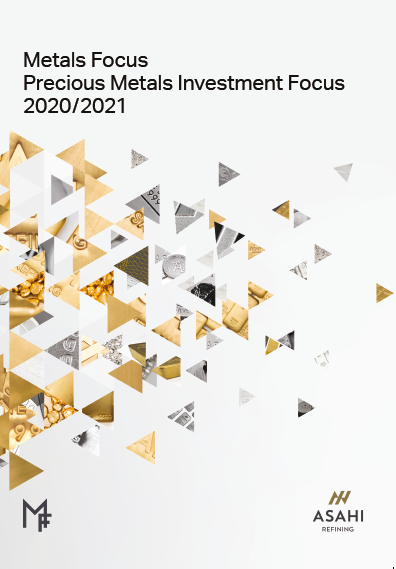 Precious Metals Investment Focus 2020/2021 cover, triangles of different metal colours scattered across the page in reducing size left to right