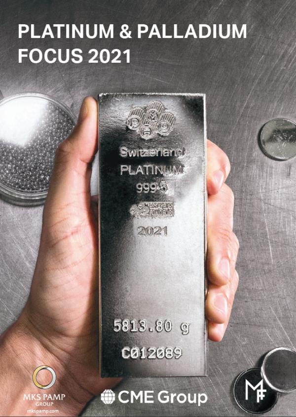 Platinum and Palladium Focus Cover 2021, a hand holding a platinum bar